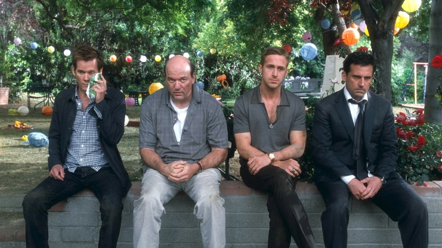 Kevin Bacon, John Carroll Lynch, Steve Carell, and Ryan Gosling in Crazy, Stupid, Love.