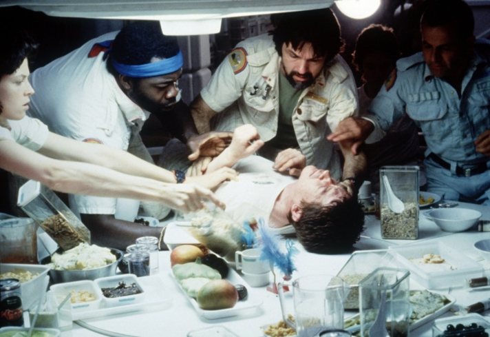 Sigourney Weaver, Ian Holm, John Hurt, Tom Skerritt, Veronica Cartwright, and Yaphet Kotto in Alien