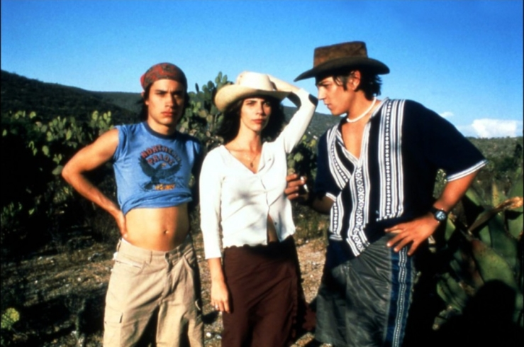 Gael García Bernal, Diego Luna, and Maribel Verdú in Y Tu Mamá También (Photo by © 2002 - IFC Films)