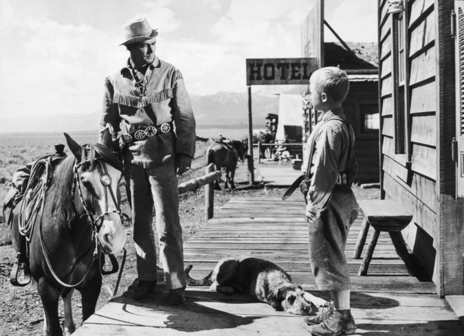 Alan Ladd and Brandon De Wilde in Shane