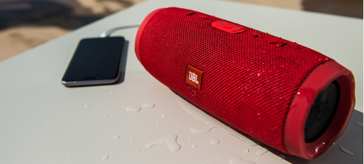 No need to fear water with the JBL Harman Charge 3, one of GAYOT's Top 10 Wireless Speakers