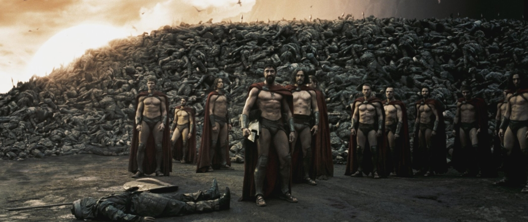A few Spartans stand before hundreds of fallen soldiers (Photo © 2007 Warner Bros. Entertainment Inc.)