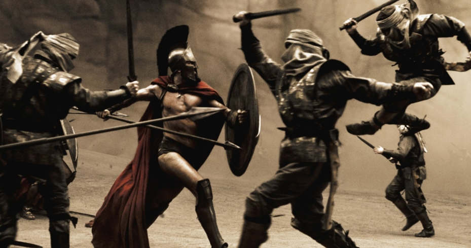 An epic action scene from the film 300 (Photo © 2007 Warner Bros. Entertainment Inc.)