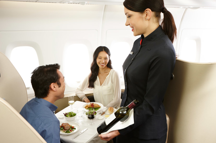 Qantas International Business Class offers a sumptuous dinner menu created in conjunction with Rockpool