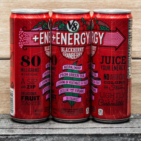 V8 +Energy has two servings of fruits and vegetables in each can