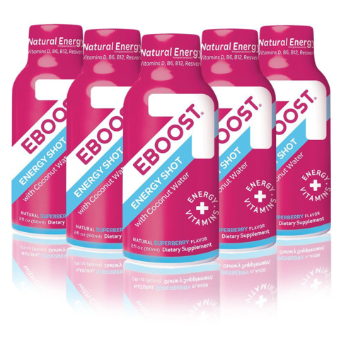 EBOOST energy shots are made with coconut water, which helps keep you hydrated