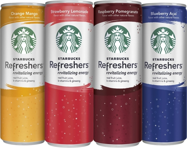 Starbucks Refreshers are available in a variety of flavors and are easy to grab on the go at any local Starbucks