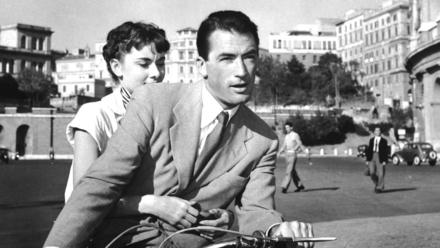 The main characters Princess Ann and Joe Bradley go sight seeing in Rome (Photo © 1953 Paramount)