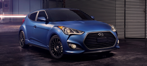 A three-quarter front view of the 2016 Hyundai Veloster Rally Edition