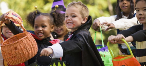 Children trick-or-treating for Halloween