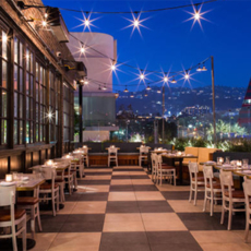 The outdoor dining area of Catch in West Hollywood