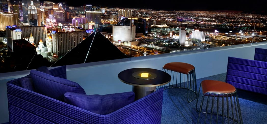 Patio with a view of the Las Vegas Strip at Skyfall Lounge