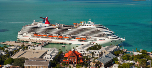 Carnival cruise ship docking in the Caribbean.