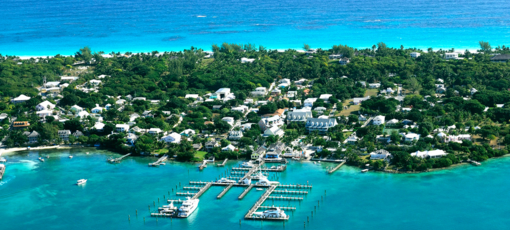 An aerial view of the Bahamas