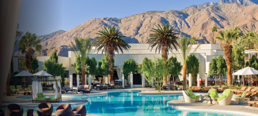 The Riviera Palm Springs beckons with palm trees, sunshine and a relaxing pool area