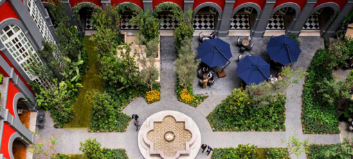 An aerial view of the courtyard at the stately Four Seasons Mexico City