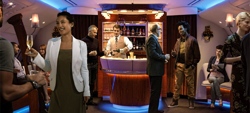 The lounge aboard Emirates Airlines, one of GAYOT's Top 10 Business Class Airlines