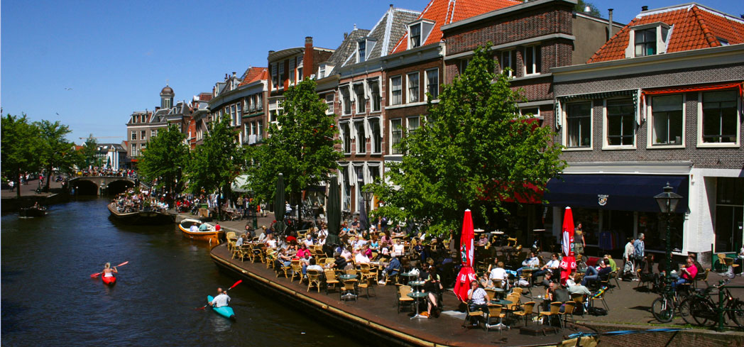One of the canals in Leiden, Netherlands