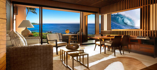 A guest room at the newly renovated Four Seasons Resort Lana'i in Hawaii