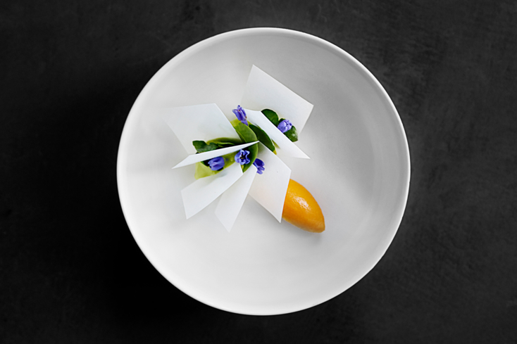 Atera, NY: Ice Cream on Pine Oil, Sea Buckthorn and Crispy Milk