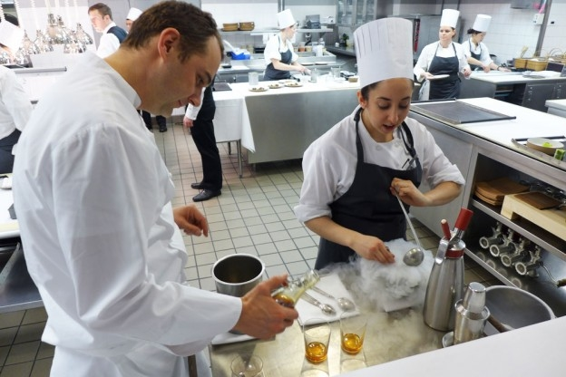 Chef Daniel Humm composing a cocktail at Eleven Madison Park
