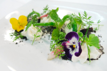 Aubergine at L'Auberge Carmel: Spring onion flowers, cocoa lemon verbana mousse