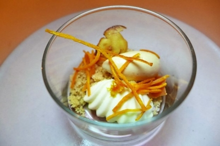 Eleven Madison Park: Sweet Potato Curd with Espresso Meringue and Orange Sorbet