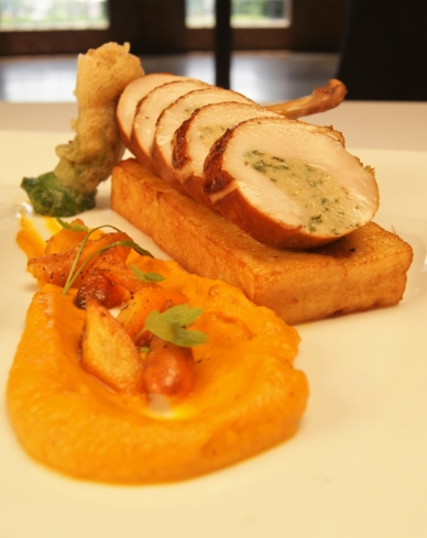 Epic Restaurant, Columbus: Coverall Farms Chicken, Potato Pave, Carrot Puree