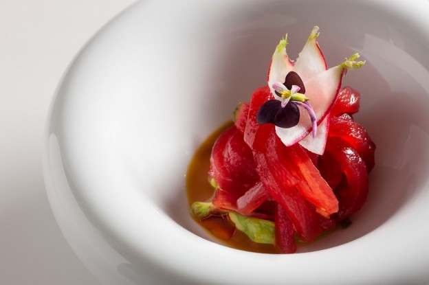 Yellowfin tuna ribbon avocado, spicy radish and ginger marinade garnished with sprouts and radish flowers at Jean-Georges (Photo Credit: Francesco Tonelli Photography)