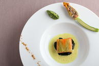 Mélisse: Wild King Salmon with Courgette, Wilted Spinach and Curry-Kefir Emulsion (credit Matthew Kiefer)