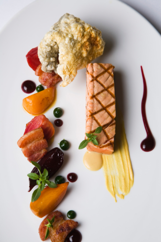 Providence: Wild King Salmon with Beets, Bacon and Mustard
