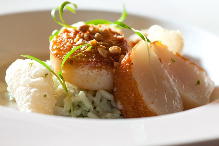 Dayboat scallop, bamboo rice, cashew and curry coconut broth at Restaurant Nicholas