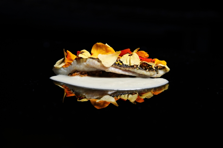 SAAM at The Bazaar by José Andrés: Black sole with Iberico ham sauce, chicken oyster, Iberico fat and nasturtium petals