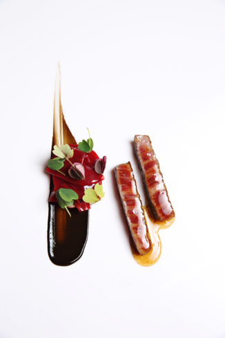 SAAM at The Bazaar by José Andrés: Japanese Wagyu, back garlic, cherries and soy sauce