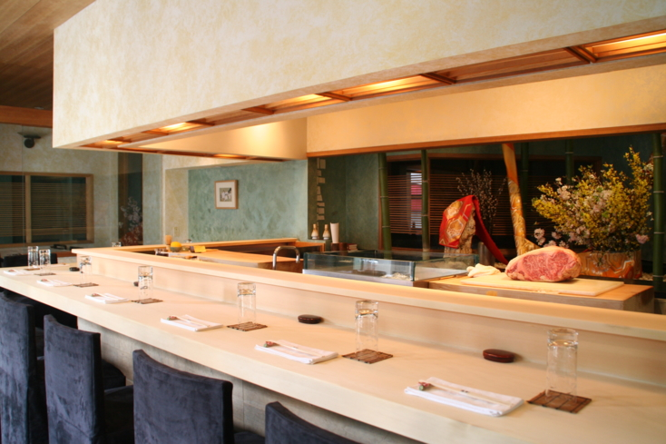 Cypress sushi bar at Urasawa