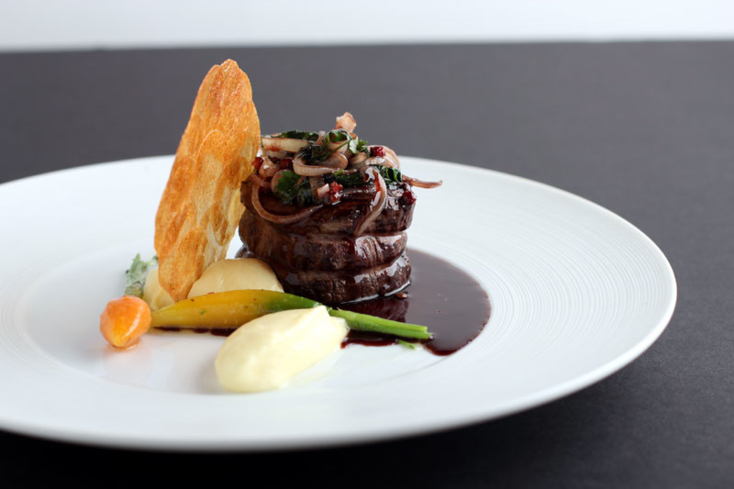 Filet of beef, garlic potato puree an dried wine shallot sauce | Mélisse | Chef Josiah Citrin | Santa Monica