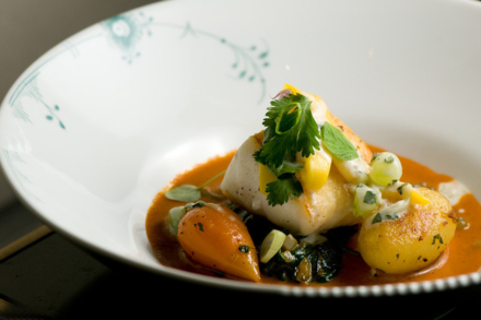 L'Espalier Indian Spiced Halibut with Cucumber Yogurt, Tamarind Glazed Carrots and Mango