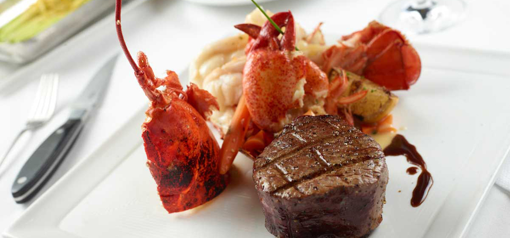 Charlie Palmer Steak's Butter Poached Maine Lobster and Petite Filet Mignon
