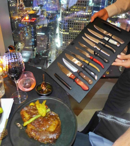 Choice of steak knives at La Boucherie on 71 in downtown LA