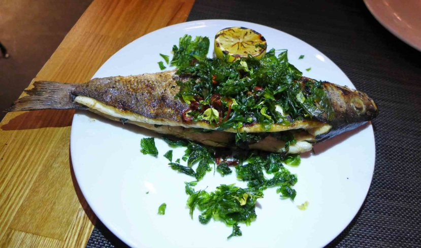 Whole branzino at Bestia in downtown Los Angeles