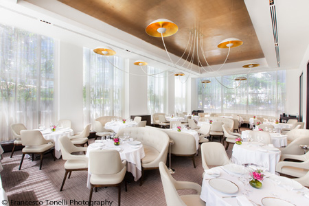 Dining room of Jean-Georges in New York, NY