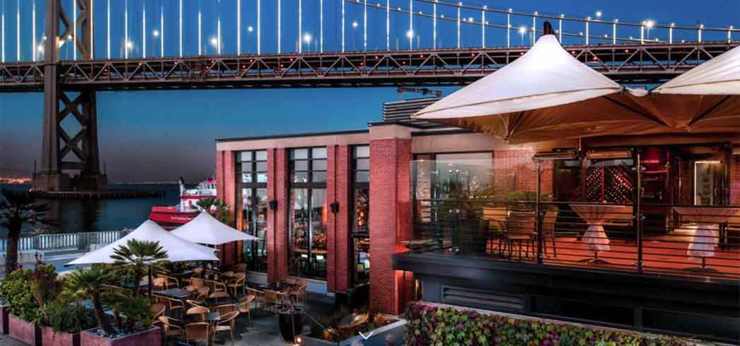 Evening view of the Bay Bridge from Waterbar