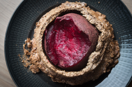 Salt and ash baked beet root at Agern in New York