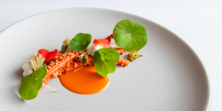 In Situ carrot, sour curd, pickled pine by Matt Orlando, Amass (Photo credit: Eric Wolfinger)