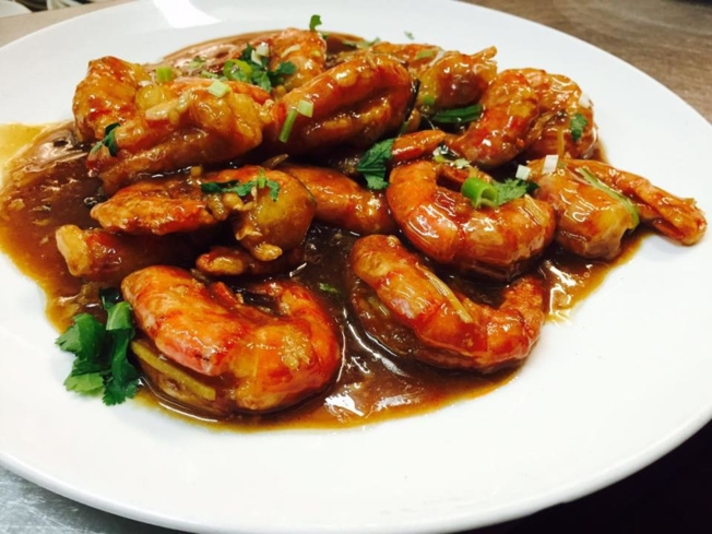 Shrimp with ginger and scallions at Good Luck Gourmet (photo courtesy of Good Luck Gourmet)