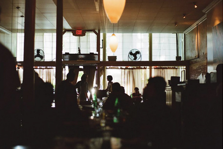 Dining room of Pizzaiolo in Oakland, CA