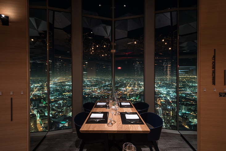71Above: Dining table with view of Los Angeles