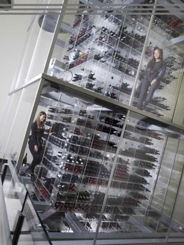 "Aureole: ""Wine Angel Stewards"" are lifted and lowered inside the restaurant's wine tower"