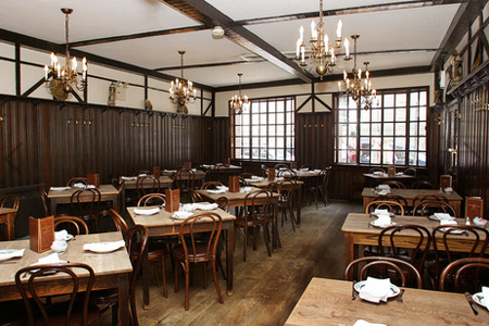 Dining room of Peter Luger in Brooklyn, NY