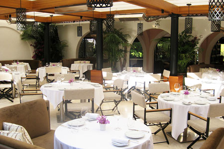 Patio at Wolfgang Puck at Hotel Bel-Air in Los Angeles, CA
